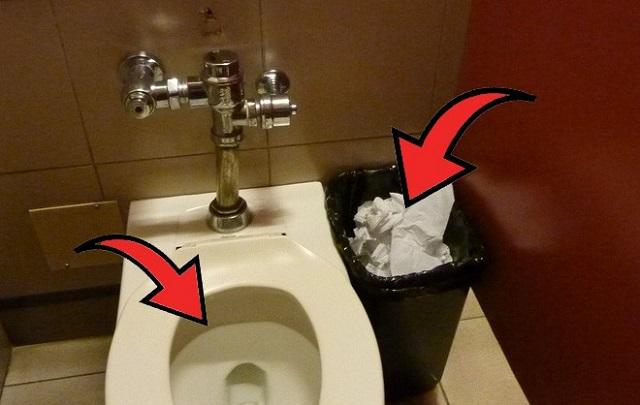 không bỏ giấy vào bồn cầu