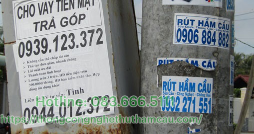 dán tờ rơi quảng cáo hút hầm cầu