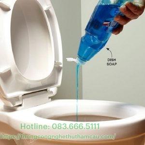 Đổ vài giọt nước rửa chén vào trong lỗ bồn cầu bị tắc