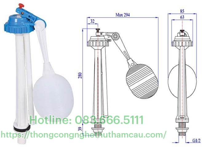 Van cấp nước bồn cầu dạng Pittong nhựa